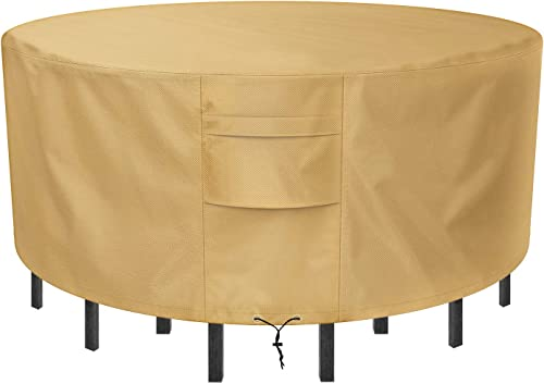 Sunkorto Round Patio Table Chair Set Cover, Waterproof Wear-Resistant Patio Furniture Cover, 94 inch Diameter, Light Brown