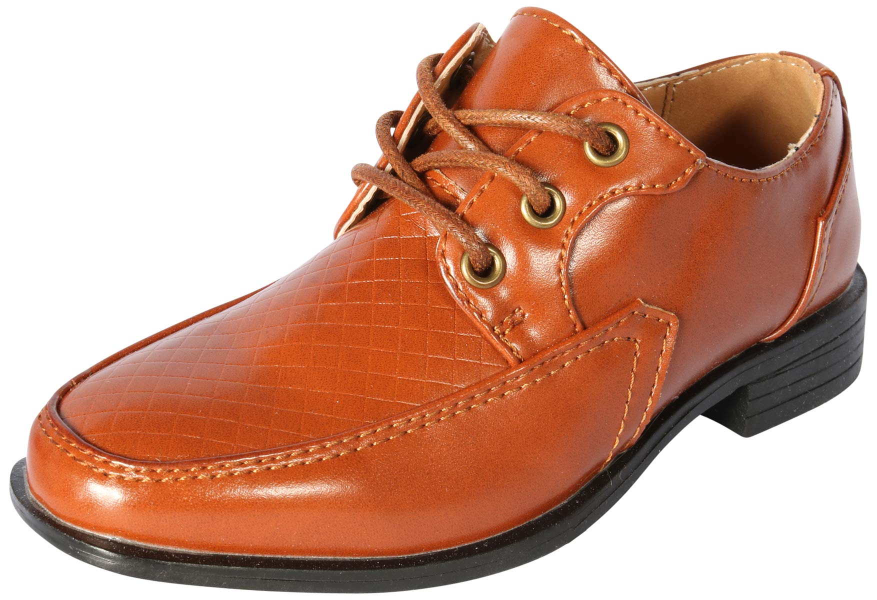 Jodano Collection Boys Memory Foam Lace up Dress Shoe, Cognac, 11 M US Little Kid'