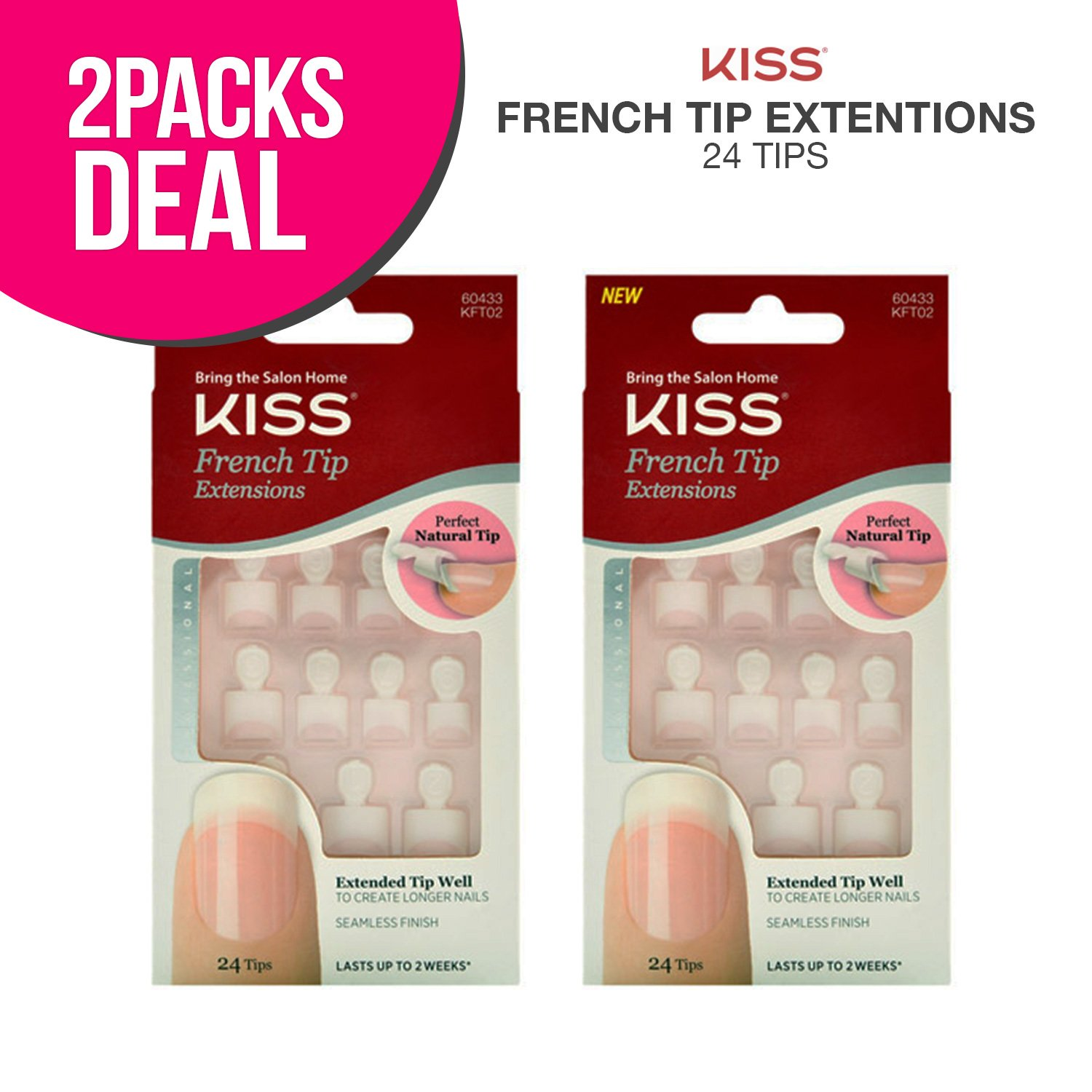 Amazon.com : 2 PACK !! Kiss French Tip Extensions 24 Tips (KFT02 ...