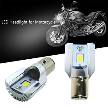 Bombilla LED COB Ba20d para faro de motocicleta, con luces largas y de cruce, de 12 V de corriente continua: Amazon.es: Coche y moto