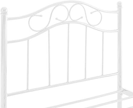en.casa] Cama de Metal 90x200 Blanca Armazón Cama Estructura Base con Somier: Amazon.es: Hogar