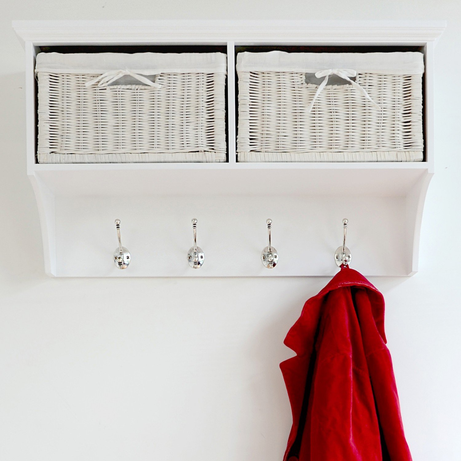 Tetbury Solid White Coat Rack With 2 Storage Baskets And Hooks. Hallway  Storage. White Hanging Shelf, ASSEMBLED: Amazon.co.uk: Kitchen U0026 Home
