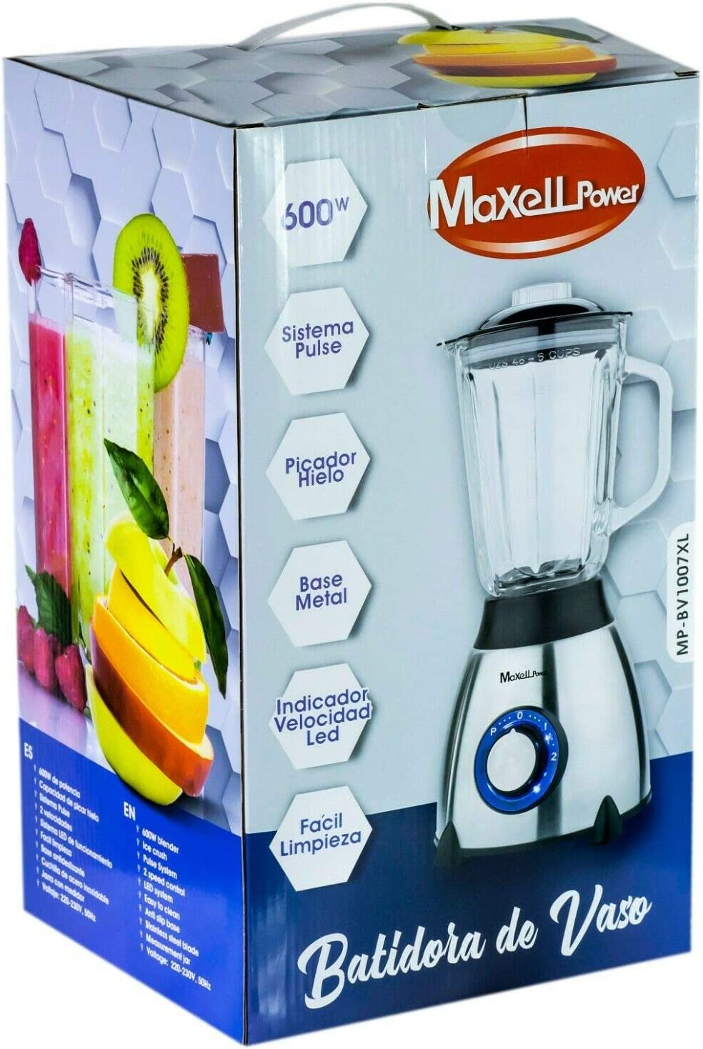 MAXELLPOWER BATIDORA DE Vaso ELECTRICA 600W Base Acero Inoxidable ...