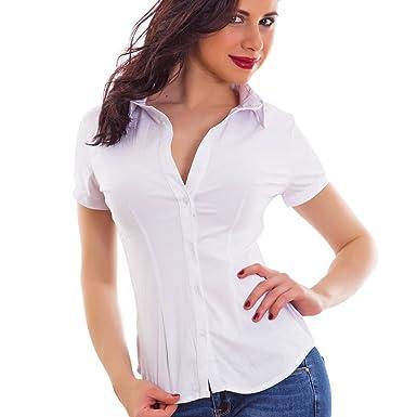 wholesale dealer 8ade2 b9cd3 Toocool - Camicia Donna Avvitata Cotone Maniche Corte Business Elegante  Sexy Nuova M1003
