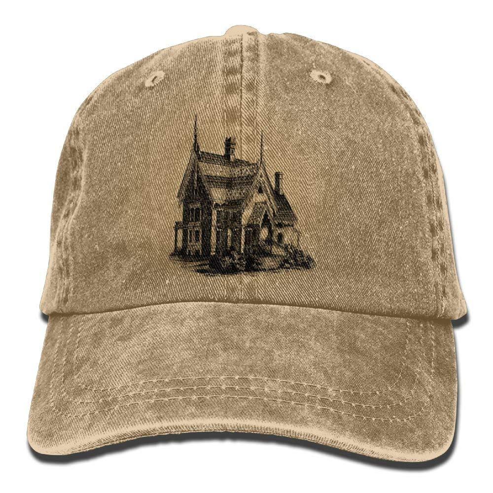 JTRVW Black House Denim Hat Adjustable Male Fitted Baseball Hat