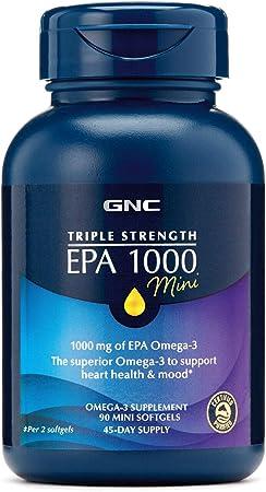 GNC Triple Strength EPA 1000mg Mini, 90 Mini Softgels, for Join, Skin, Eye, and Heart Health