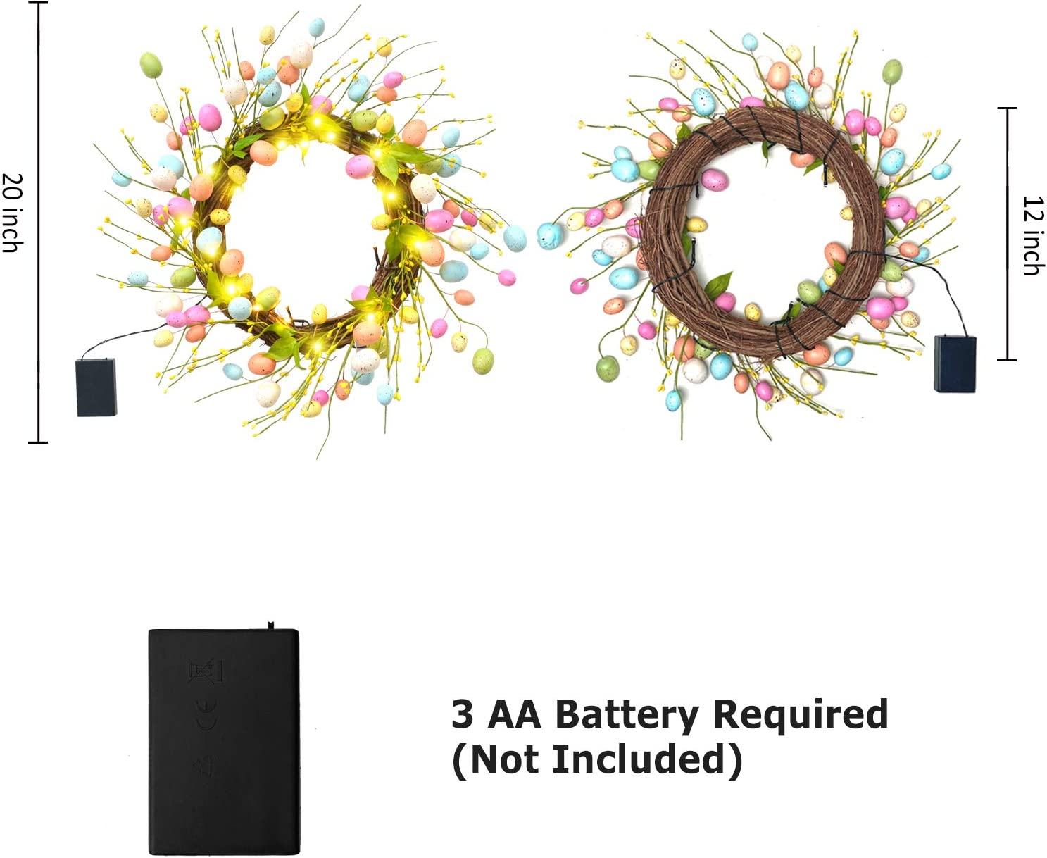 Twigs and Pastel Spekled Easter Eggs Hanging D/écor on Doors Walls and Windows Easter Gift ALLADINBOX 20 Inch Easter Wreath 20 LEDs Timer Control with Mixed Flowers Grass