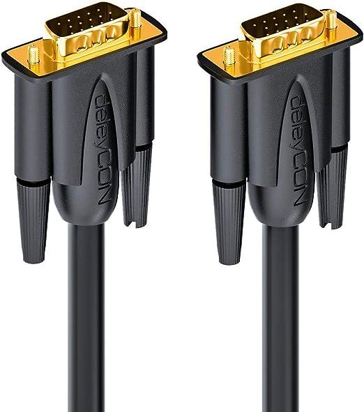 Noir deleyCON C/âble VGA 10m C/âble de Moniteur S-VGA 15 Broches S-VGA D-Sub Full HD Triple Blindage Protection Anti-Pli Contacts Plaqu/és Or
