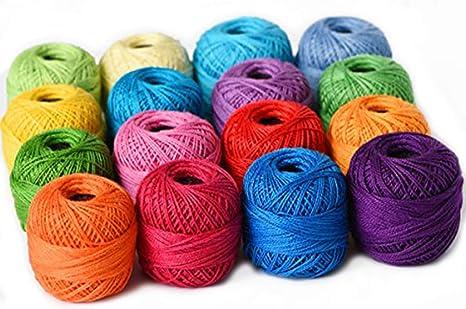 Le Paon - Ovillos de algodón Perle suave, de 10 g, de colores, de ...