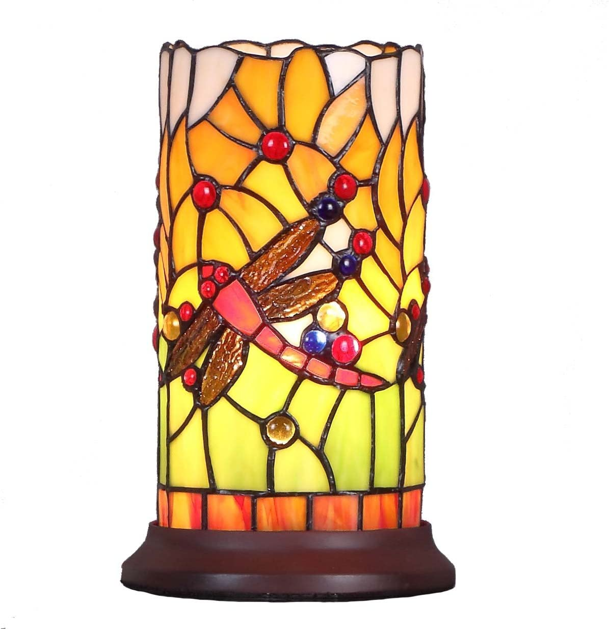 Bieye L10650 Dragonfly Tiffany Style Stained Glass Mini Table Lamp With Cylindrical Shade 10 Inch Tall Home Improvement