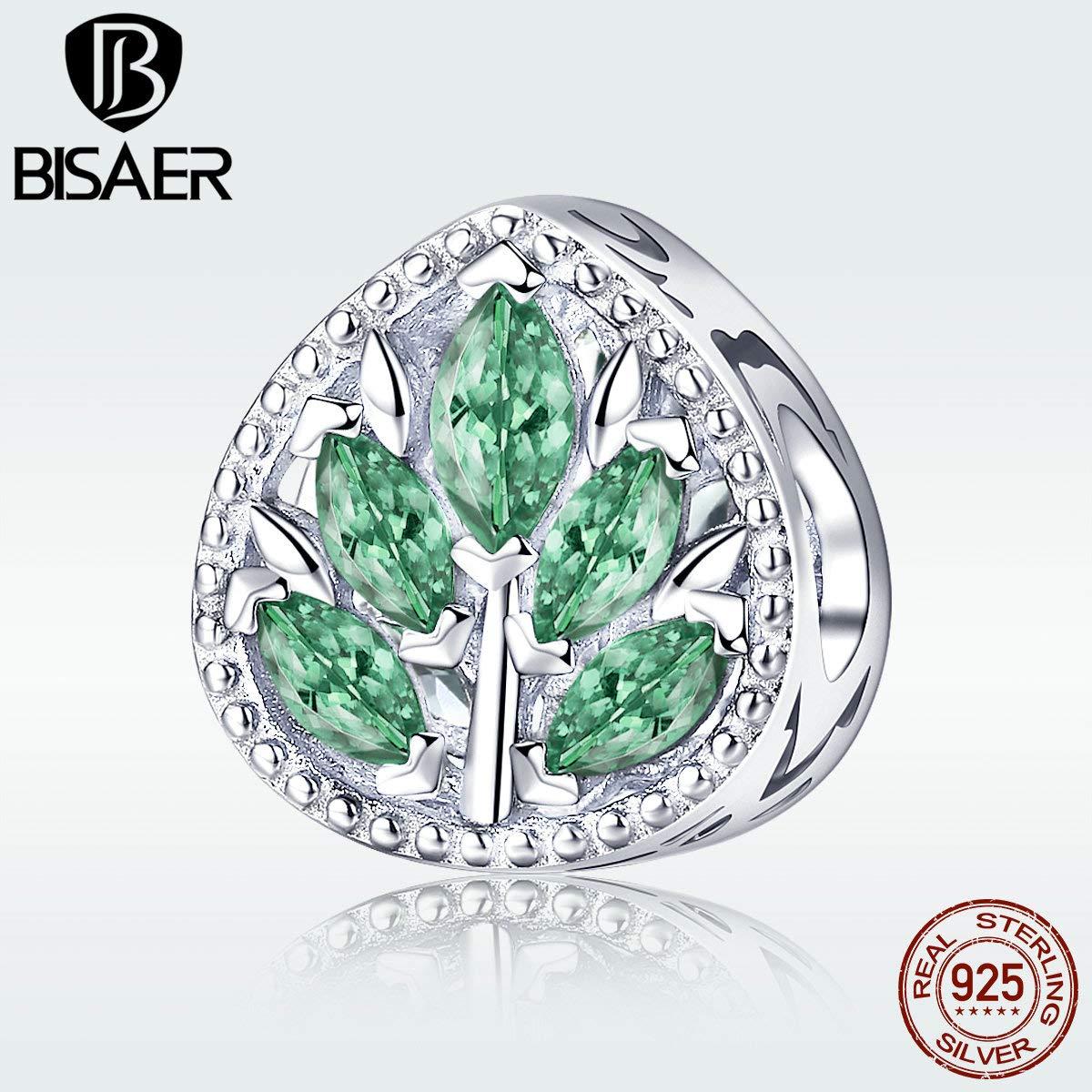 Calvas Beads Genuine 925 Sterling Silver Green Cubic Zircon Leaves Charm Fit for Female Silver Original Brand Bracelet Necklace GAC005