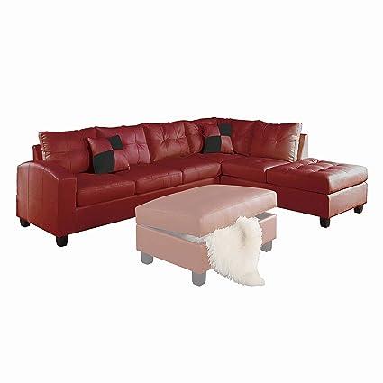 Amazon.com: ACME Kiva Red Bonded Leather Reversible Sectional Sofa ...