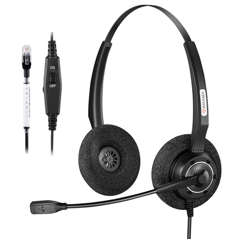 432a34fdcc2 Arama Phone Headset with Noise-Canceling Mic Corded Telephone Headset for  Polycom Plantronics Mitel Avaya Nortel Shoretel Aastra Landline Office  Phones ...