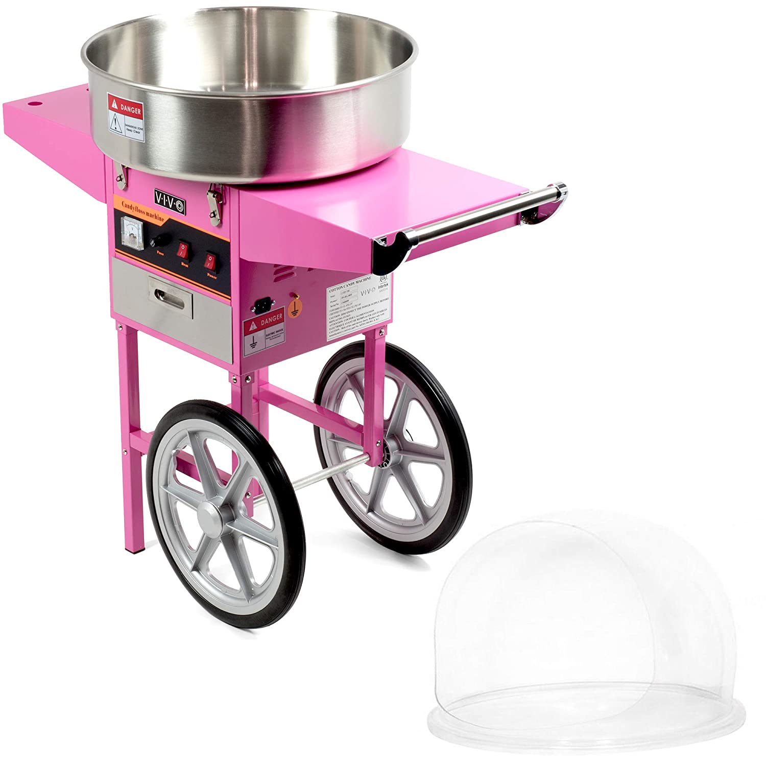 VIVO Pink Electric Commercial Cotton Candy Machine/Candy Floss Maker   Mobile Cart with Bubble Shield (CANDY-KIT-2)