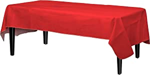 Exquisite Flannel Backed Vinyl Tablecloths, Solid Color Premium Quality Waterproof Table Cover (54 Inch. X 108 Inch., Red)