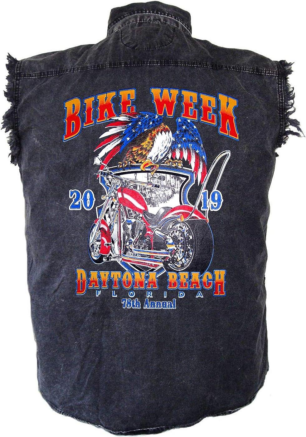 Leather Supreme Mens Daytona Bike Week 2019 Motorcycle Denim Biker Shirt