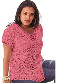 ac6a6ecb3eb Roamans Women s Plus Size Starburst Crochet Sweater at Amazon ...