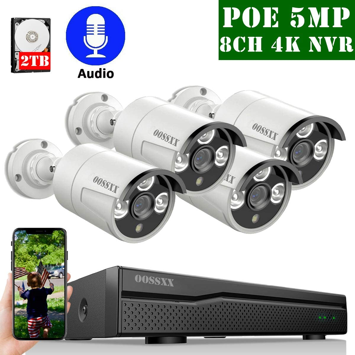 4K 8ch POE NVR Security Camera Systems Outdoor Wired,OOSSXX IP Video Security Camera System POE 4K,Wired 4 Channel 5MP POE Security IP Camera Outdoor Surveillance System,One-Way Audio,2TB Hard Drive
