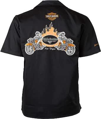 HARLEY-DAVIDSON Las Vegas Babes Bikes Flames Camisa de Trabajo: Amazon.es: Ropa y accesorios