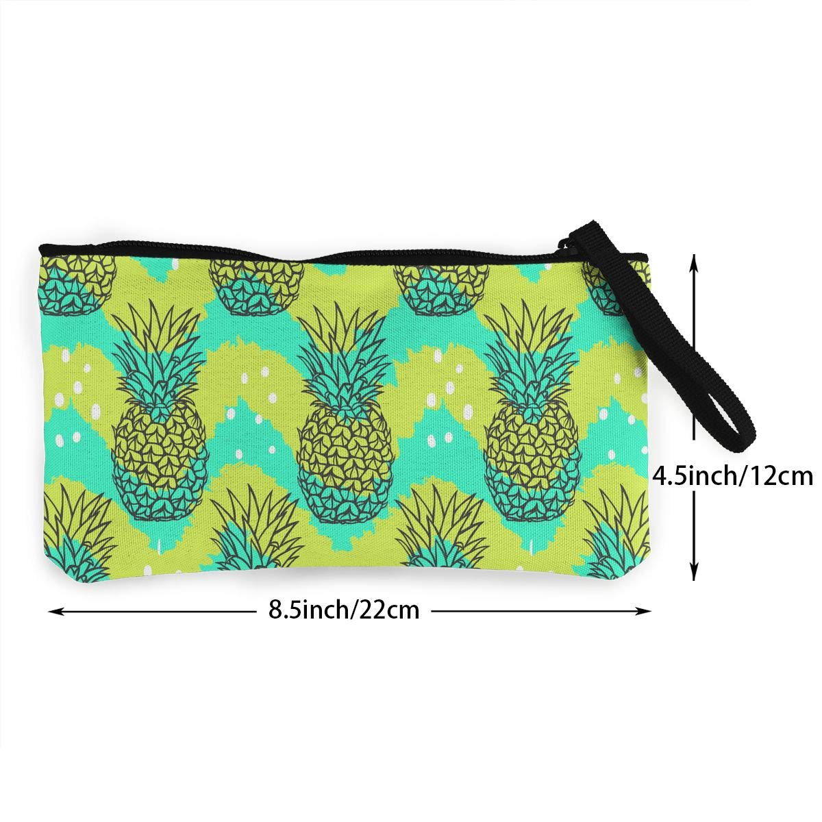 Bk55Oi/&/& Womens Retro Purse Fruit Pineapple Pattern Canvas Card Wallet with Zipper for Women