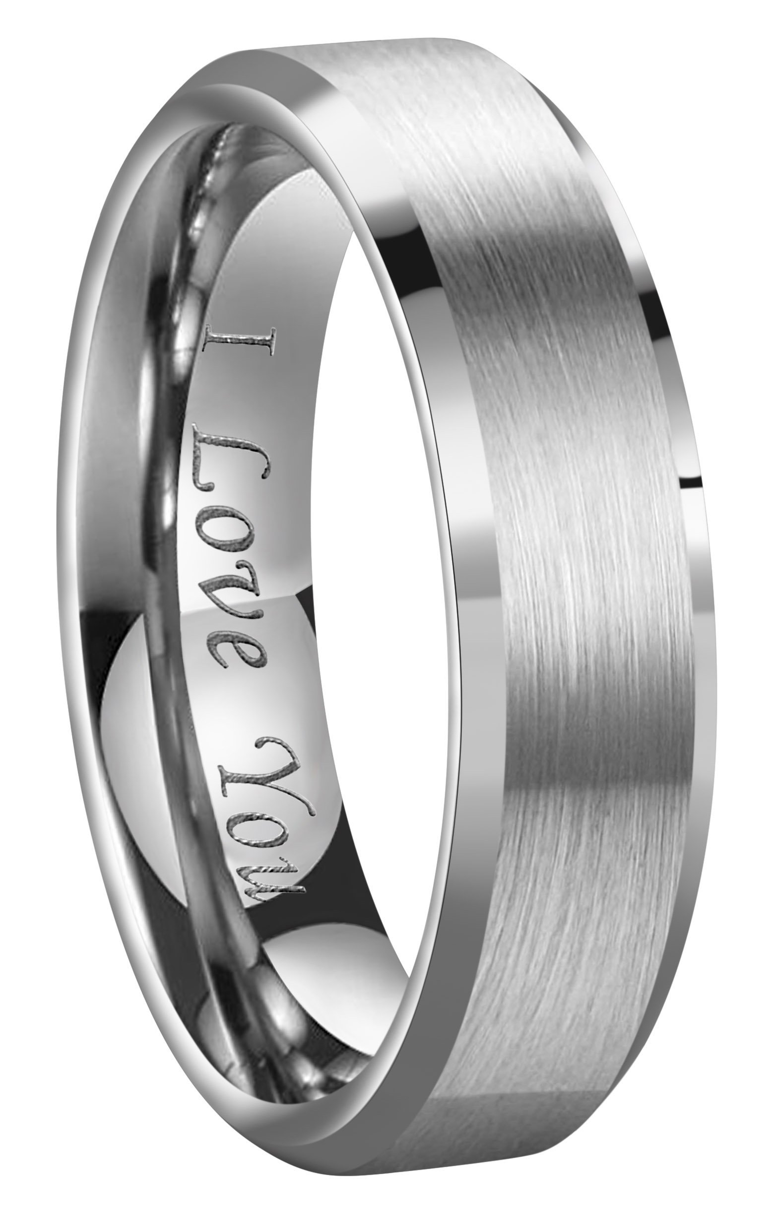 CROWNAL 4mm/6mm/8mm Tungsten Couple Wedding Bands Rings Men Women Brushed Finish Beveled Edges Engraved I Love You Size 4 To 17 (6mm,10)