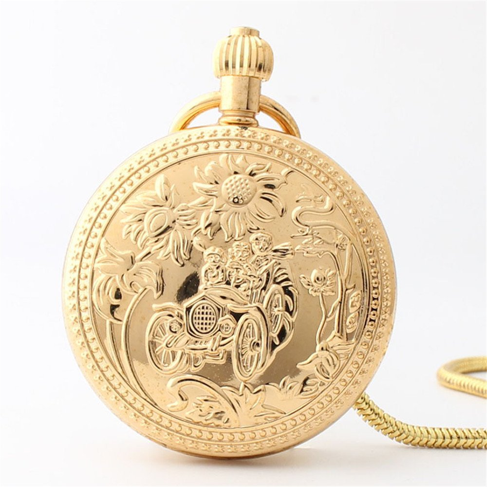 Zxcvlina Classic Smooth Retro Mechanical Pocket Watch Sunflower Pattern Carved Plexiglass Mirror Golden Unisex Pocket Watch with Chain Suitable for Gift Giving