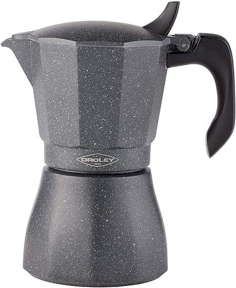 Oroley - Cafetera Italiana Petra | Base de Acero Inoxidable | 12 Tazas | Cafetera Inducción, Vitrocerámica, Fuego y Gas | Estilo Tradicional: Amazon.es: Hogar