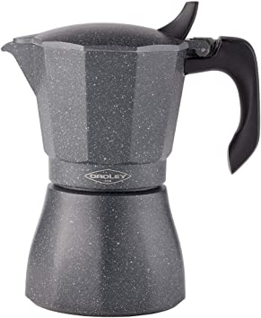 Oroley - Cafetera Italiana Petra | Base de Acero Inoxidable | 6 Tazas | Cafetera Inducción, Vitrocerámica, Fuego y Gas | Estilo Tradicional: Amazon.es: Hogar