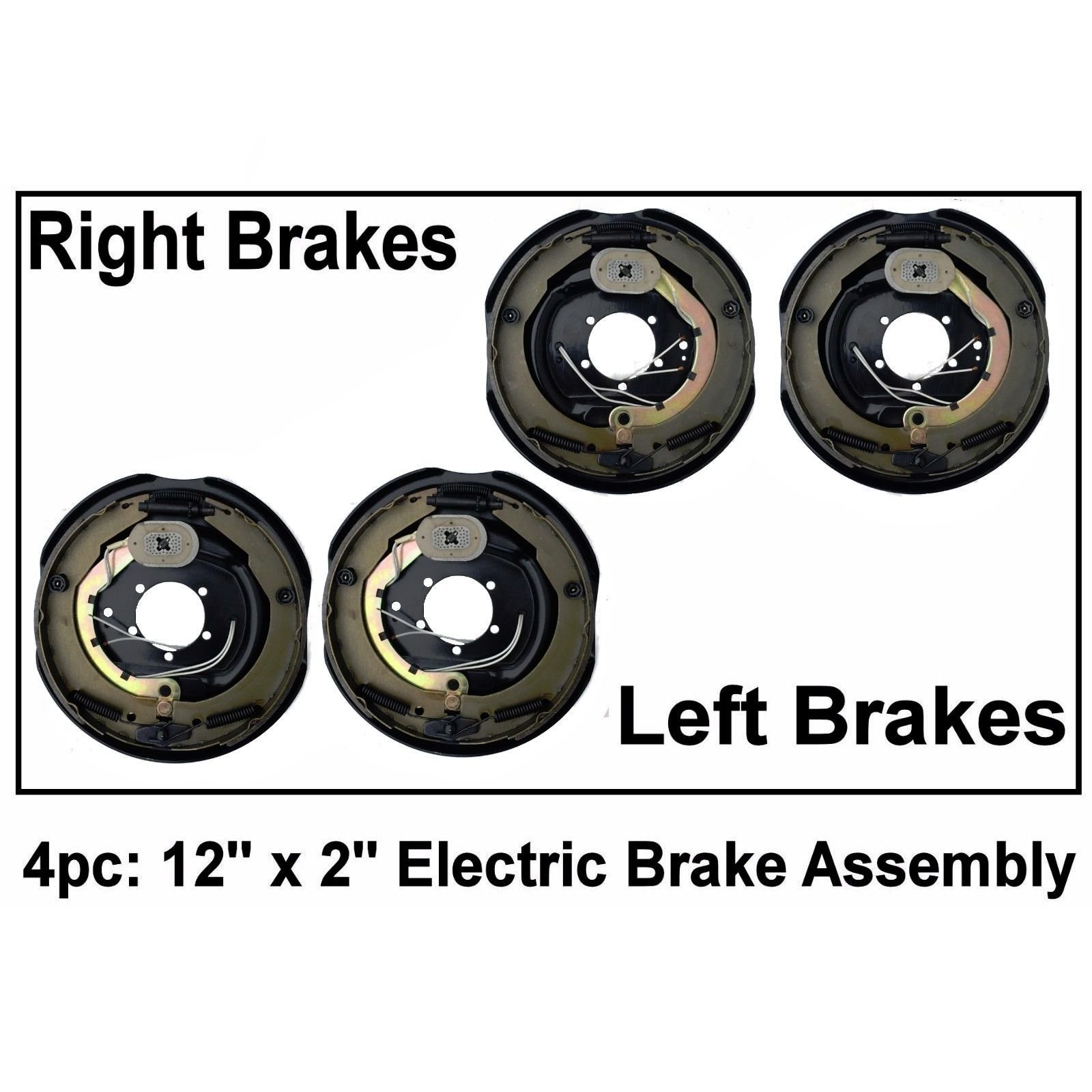 4pc Electric Trailer Brake 12'' x 2'' Assembly Right & Left SIde 6000 7000 Axle