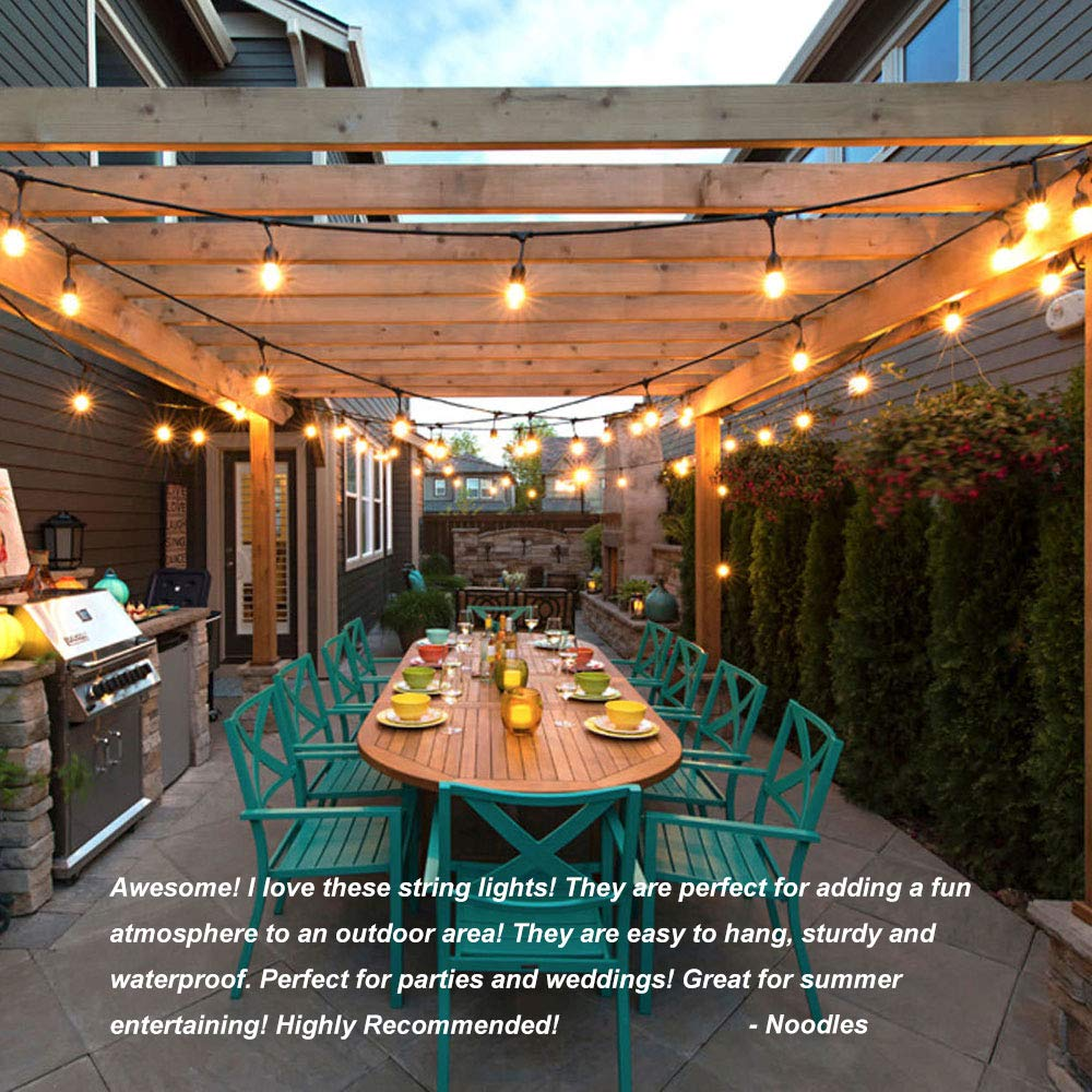 Classyke 48ft Indoor Outdoor String Lights for Patio Garden Yard Deck Cafe Dimmable Weatherproof Commercial Grade UL Listed