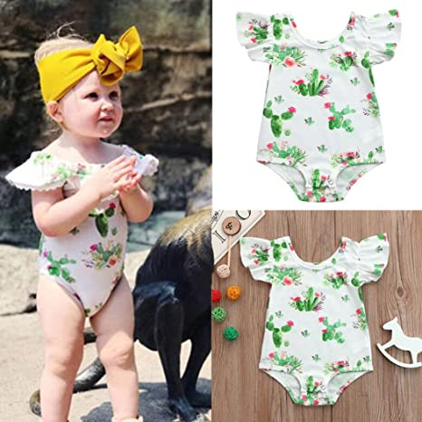 Amazon.com: ShiTou Sleeveless Floral Printing Party Outfits Summer Infant Cactus Romper (White, 90): Clothing