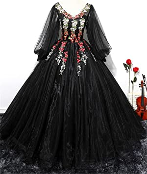 ELEGENCE-Z Vestido De Novia Negro, Temperament Cuello Redondo Linterna Manga Larga Malla De
