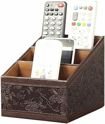 maikrt 3 Ranura piel sintética para mando a distancia soporte organizador/caja de almacenamiento de artículos./Guía de TV/correo/CD Organizador/Caddy/Soporte Organizador De Cables: Amazon.es: Oficina y papelería