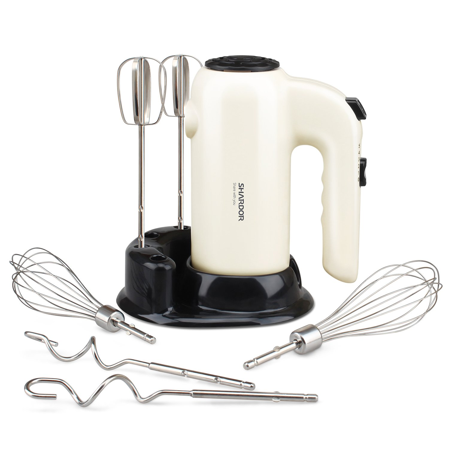 Hand Mixer Electric SHARDOR Ultra Power Mixer with 6 Stainless Steel Attachment & Storage Base, Eject Button, Digital Handheld Kitchen Mixer, White Black