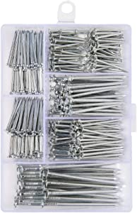 376pcs Premium Hardware Nails Assortment Kit, Maximum Length 2 Inches Galvanized Nails, Picture Hanging Nails, Wood Nails, Wall Nails with Storage Box | 6 Sizes