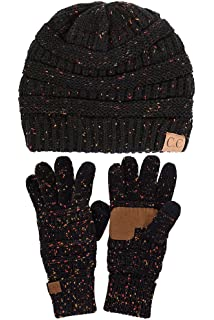 c295c1e2289 ScarvesMe C.C Trendy Confetti Thick Soft Warm Chunky Soft Stretch Cable  Knit Beanie and Gloves Set