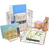 Superbpag Wire Metal 5 in 1 Desk Organizer Set - Letter Sorter, Pencil Holder, Stick Note Holder, Hanging File Organizer and Letter Tray, Rose Gold