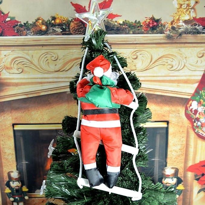 papamsy (TM Dulce Navidad decoración |Weihnachtsmann Santa Claus muñeca con escaleras Escalera 40 cm árbol de Navidad decoración |supermarkt de Puerta de Cristal Estante de Pared Decoración: Amazon.es: Hogar