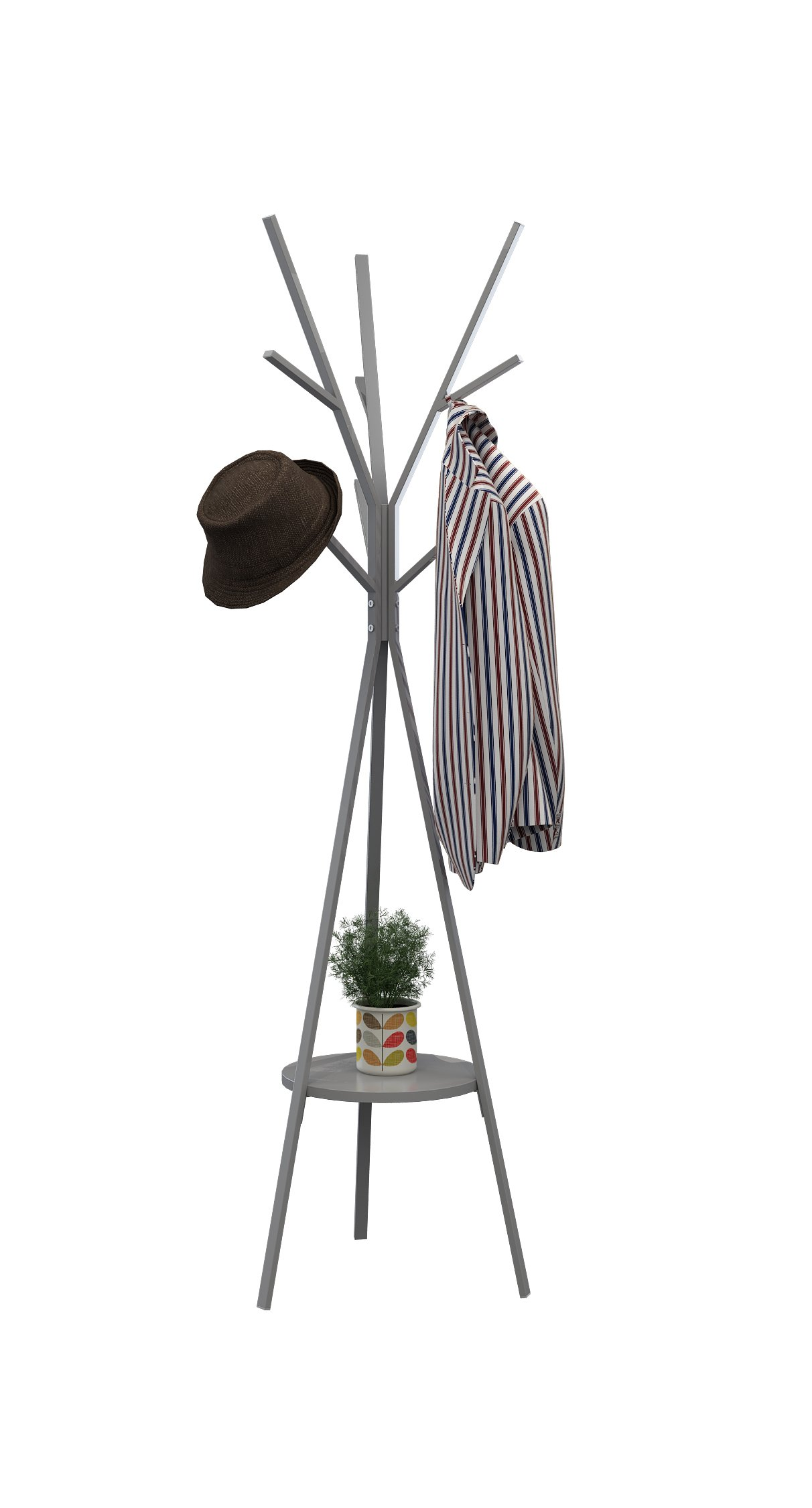 "Homebi Coat Rack Hat Stand Free Standing Display Hall Tree Metal Hat Hanger Garment Storage Holder with 9 Hooks for Clothes Hats and Scarves in Grey,17.72"" Wx17.72 Dx70.87 H - STABLE AND DURABLE COAT AND HAT STAND:Simple and solid concept.Made of powder-coated metal tubes and diameter 11.41 inches MDF circle board,this coat hat rack is more durable and sturdy while using.The powder-coated metal tubes do not rust or corrode with normal use.And the tubes have been strengthened to 38mm/1.49inches,enabling this coat stand easily support winter jackets and loading more capacity. DECORATIVE AND FUNCTIONAL METAL COAT HANGER STAND:Practical and at the same time can be a good decoration at home.Ample storage space,totally 3 main branches with 9 hooks ,this coat hat standing hanger is a perfect storage solution for coats,handbags,scarves,hockey gear,motorcycle helmets,jackets,gloves and more.The bottom circle shelf can store drawer units ,bins,toys and flowerpot as you please. MODERN LOOKING HAT DISPLAY RACK WITH ARCHITECTURAL DESIGN AND WORKMANSHIP:Aesthetically appealing to be a decorative piece and functional enough to organize your clothes,hats and more.The trigonometrical legs well support this coat rack firmly even when you hang heavy bags and winter clothes.Each hook can well bear 2kgs(4.4lbs).Sturdy enough to hold up 40.0lbgs.And the end hook caps perfectly protect your clothing and hats.Item weight:6.6 lbs/3.01KGS. - entryway-furniture-decor, entryway-laundry-room, coat-racks - 71%2BQvzYgIML -"