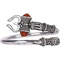 Rudraksha Trishul Damroo Designer Bahubali Kada Bracelet/Unisex Cuff Bracelet for Men & Women