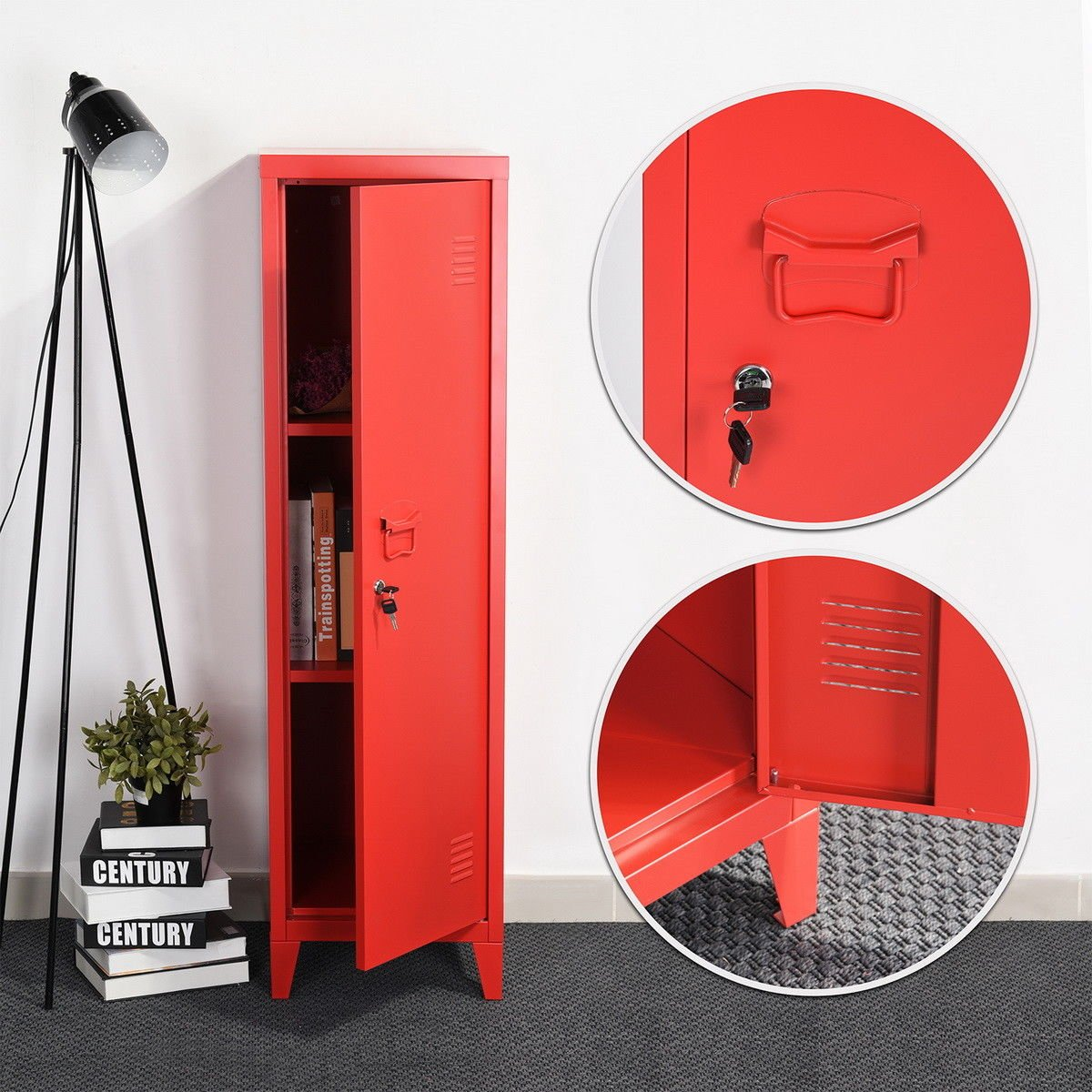 HouseinBox Office File Storage Metal Cabinet 3 Door Cupboard Locker Organizer Console Stand 3-in-1 (RED-Standing Locker) by HouseinBox (Image #3)