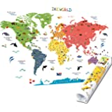 HomeEvolution Kids Educational Removable World Map Peel and Stick Large Wall Decals Stickers for Children Nursery…