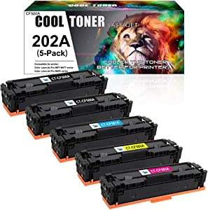 Cool Toner Compatible Toner Cartridge Replacement for HP 202A CF500A 202X M281fdw Toner Cartridges for HP Color Laserjet Pro MFP M281 M254dw M281cdw M254nw M254 Ink (Black Cyan Yellow Magenta, 5-Pack)