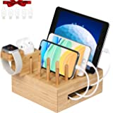 Bamboo Charging Station for Multiple Devices - Darfoo Docking Station Organizer for Cellphone, AirPods, iWatch, Tablet(5…