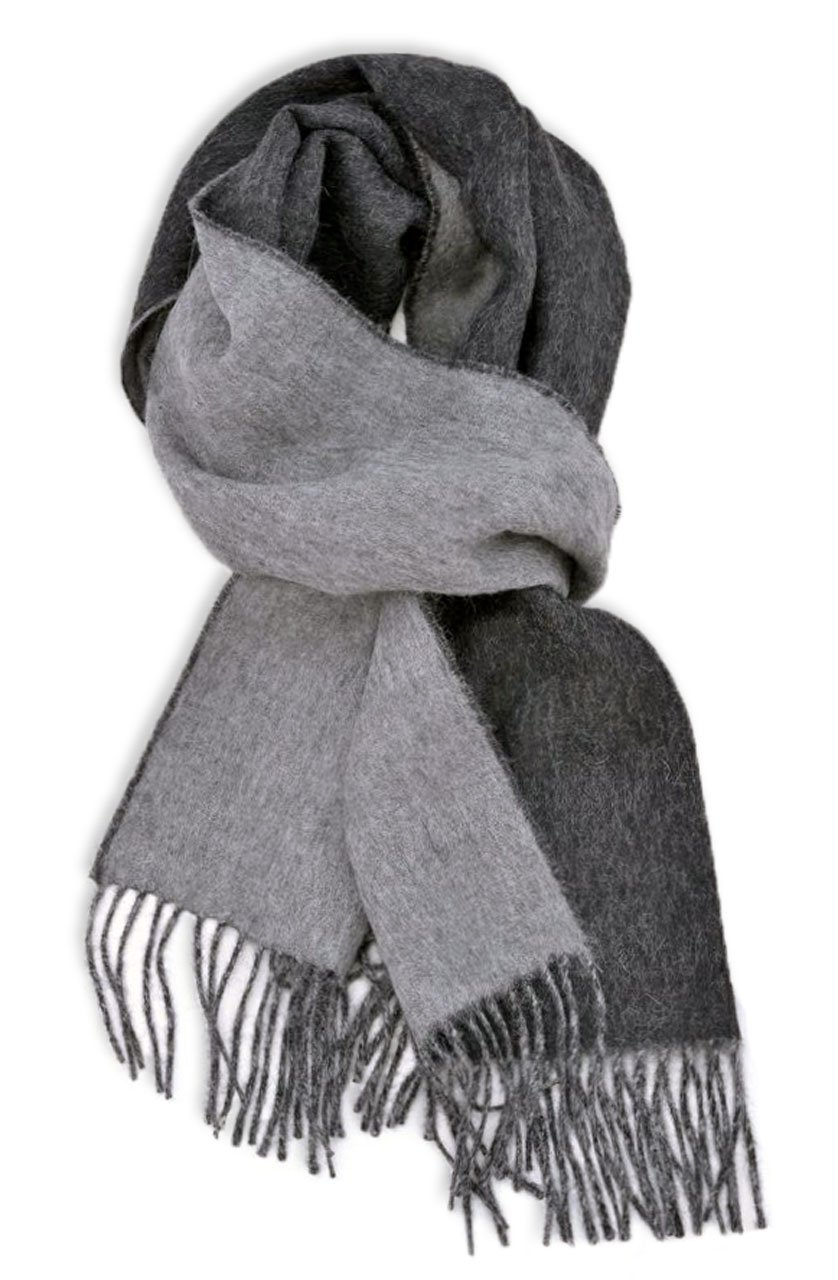 Contrast Scarf in 100% Pure Baby Alpaca for Men and Women - A Great Gift Idea in Many Colors (Charcoal Gray)