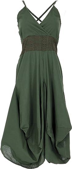 Guru-Shop Vestido de verano largo, estilo hippie chic, mujer, algodón, largo y medio, ropa alternativa Punta de oliva/oscura. Talla única: Amazon.es: Ropa y accesorios
