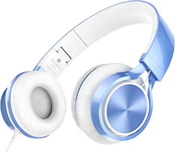 AILIHEN MS300 Wired Headphones, Stereo Foldable Headset for iOS Android Smartphone Laptop Tablet PC Computer (Blue)