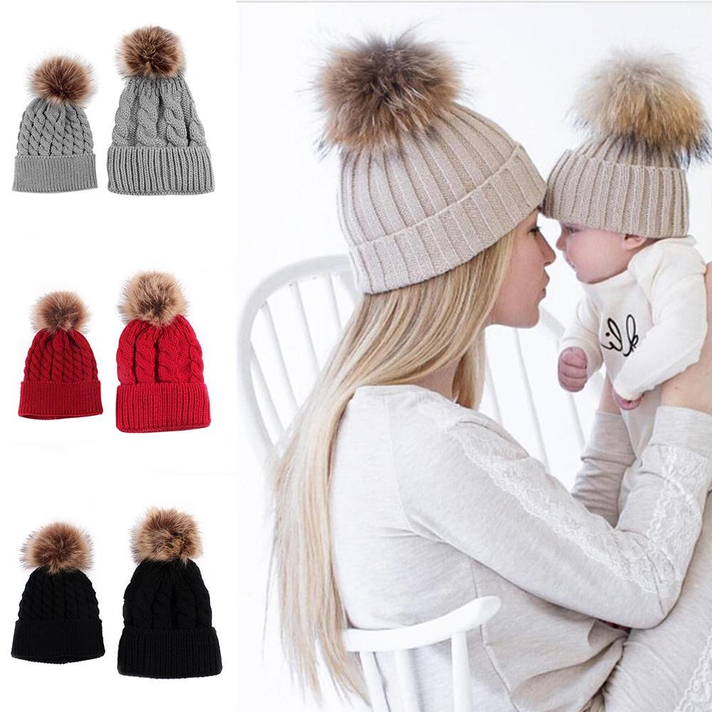 Mother Baby Warm Knit Hat Fur Wool Beanie Ski Cap 2PCS Parent-child Hat