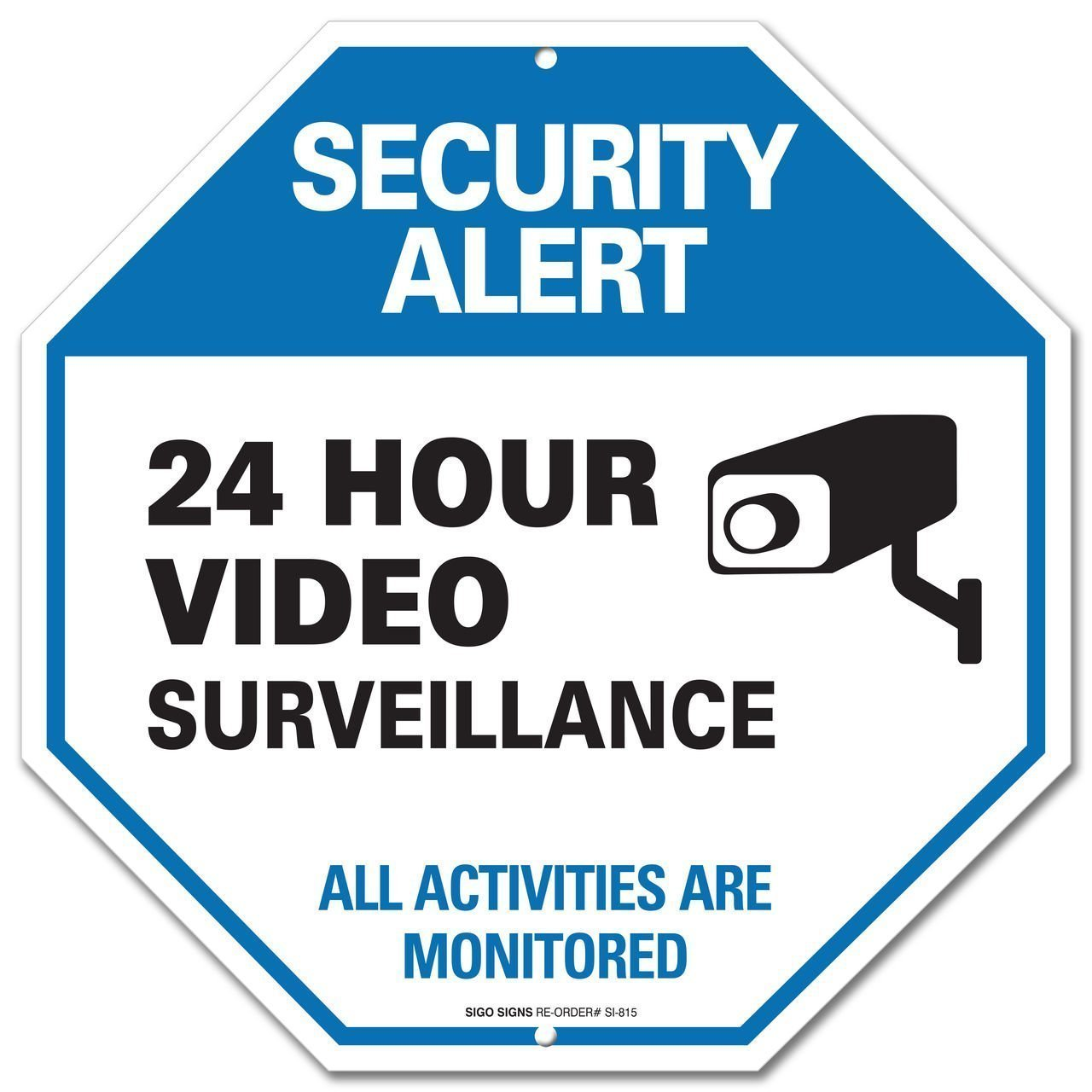 Video Surveillance Sign - CCTV Security Alert - 24 Hour Surveilance All Activities Are Monitored Sign - Legend'' Large 12 X 12 Octagon Rust Free 0.40 Aluminum Sign