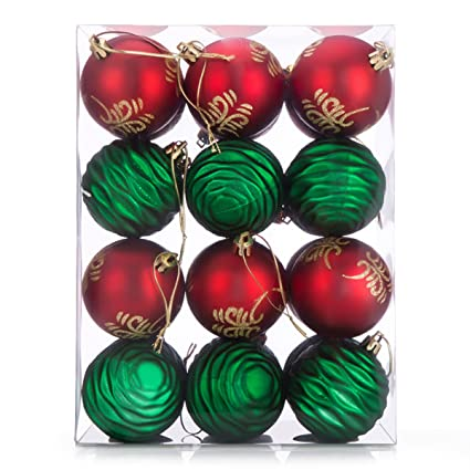 24ct christmas ball ornaments redgreen shatterproof xmas decorations tree mini balls for holiday